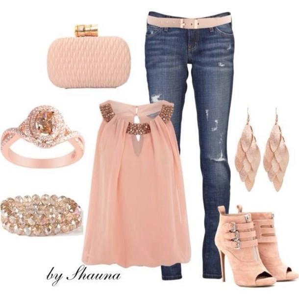 blouse peach sequin floral mesh