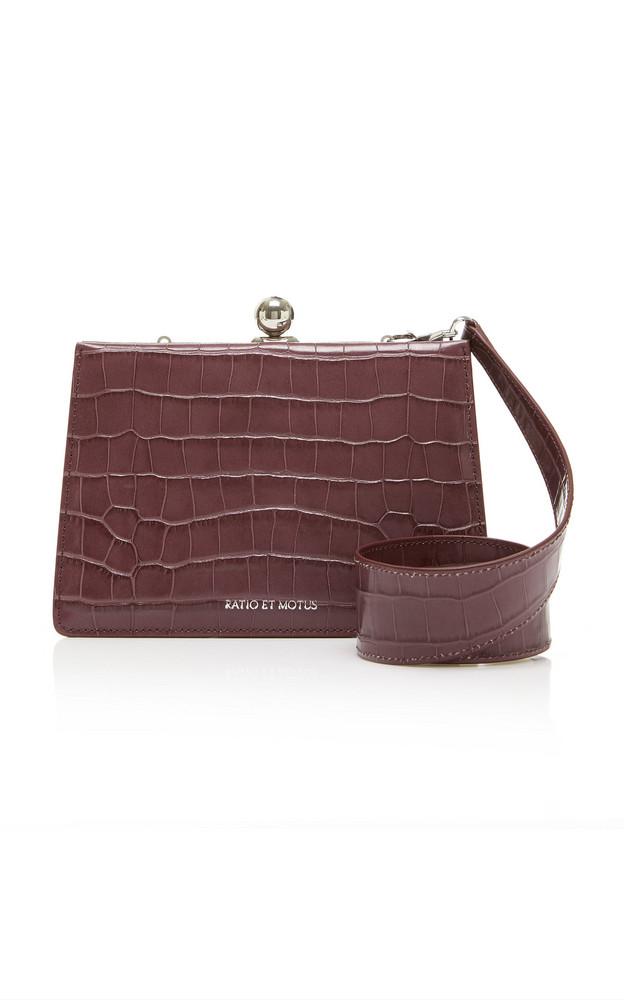 Ratio et Motus Mini Twin Croc-Effect Leather Shoulder Bag in purple