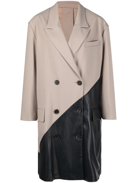 Rokh two-tone double-breasted coat in neutrals