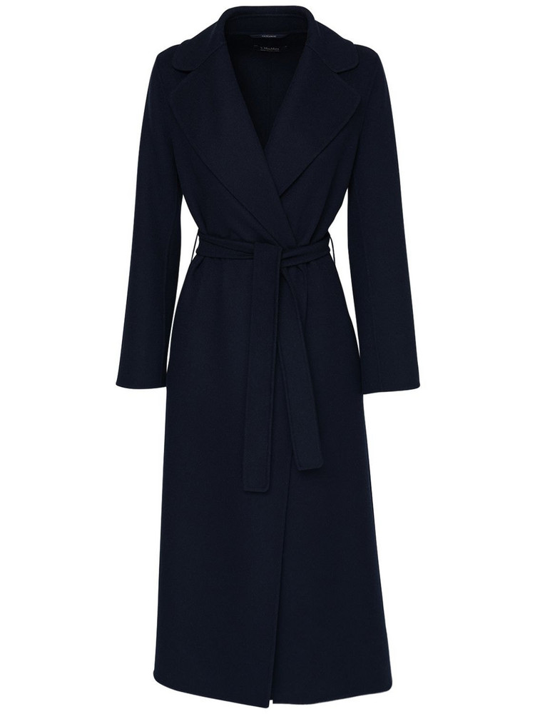 MAX MARA 'S Poldo Belted Wool Coat in blue