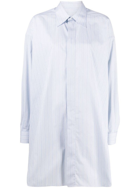 Maison Margiela long pinstripe shirt in blue