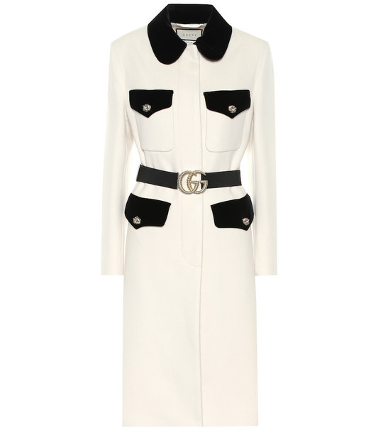 Gucci Velvet-trimmed wool coat in white