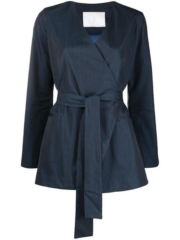 Société Anonyme V-neck tie-waist blazer in blue