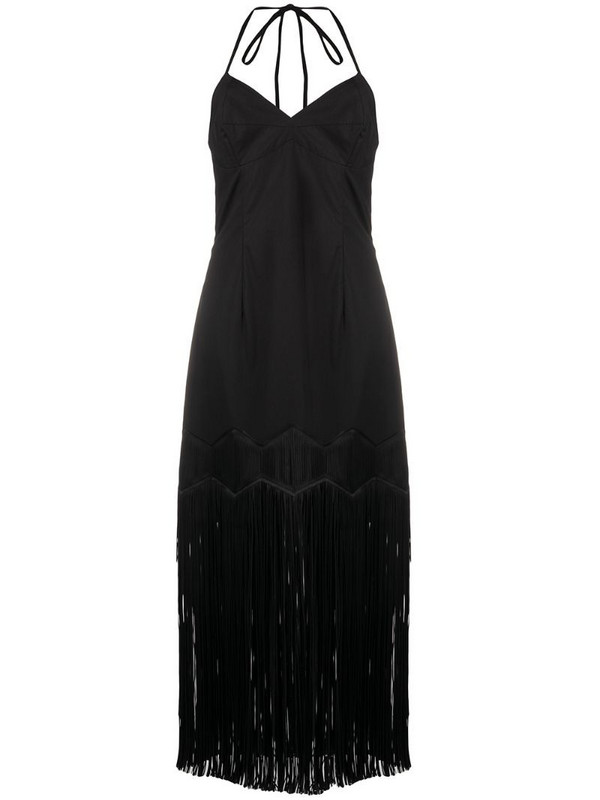 Paskal fringed sleeveless midi dress in black
