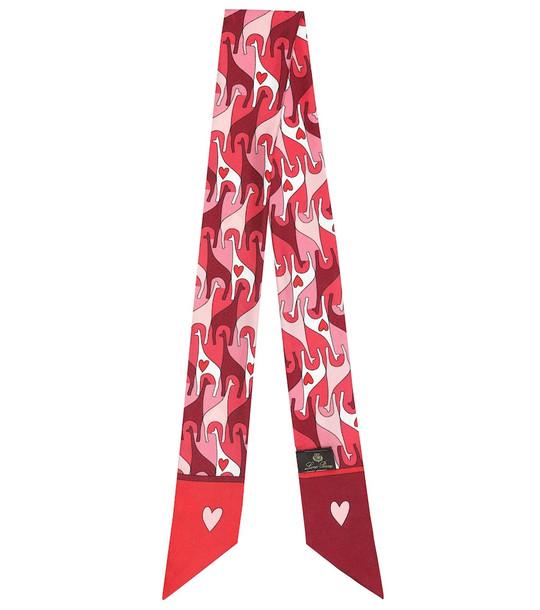 Loro Piana Printed silk scarf in pink