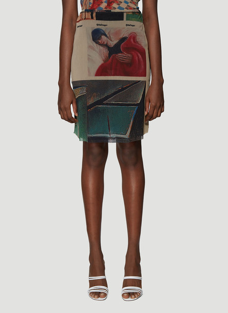 Ottolinger Julian Nguyen Mesh Skirt in Green size L