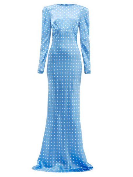 Alessandra Rich - Polka Dot Silk Maxi Dress - Womens - Blue White