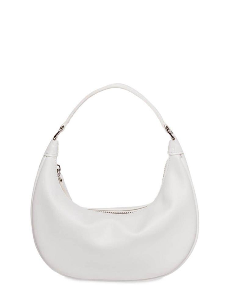 STAUD Mini Sasha Leather Shoulder Bag in white