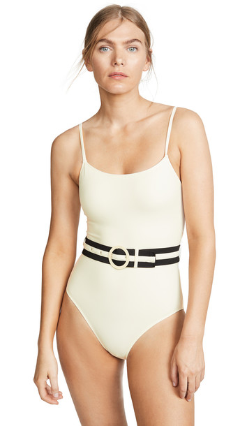 Solid & Striped The Nina Belt One Piece Swimsuit in cream