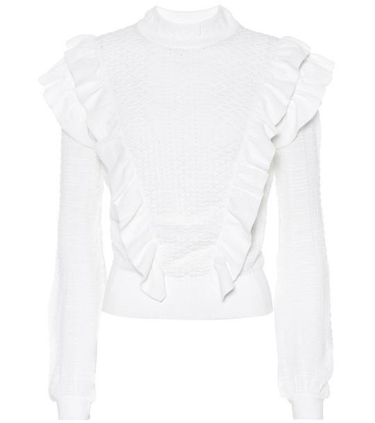 Chloé Ruffled wool sweater in white