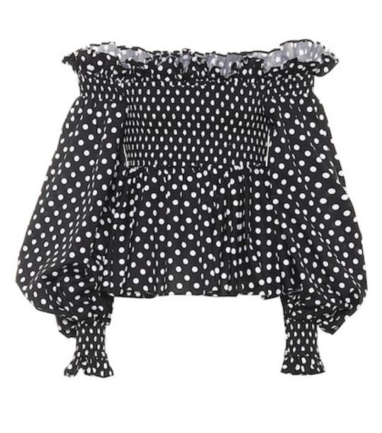 Caroline Constas Kora polka-dot off-the-shoulder top in black
