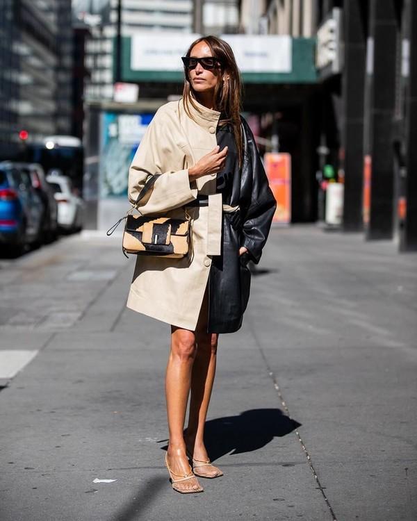 shoes pumps leather coat shoulder bag