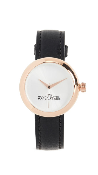 The Marc Jacobs The Round Watch in black / gold / rose