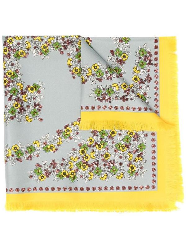 Tory Burch floral-print silk scarf in blue
