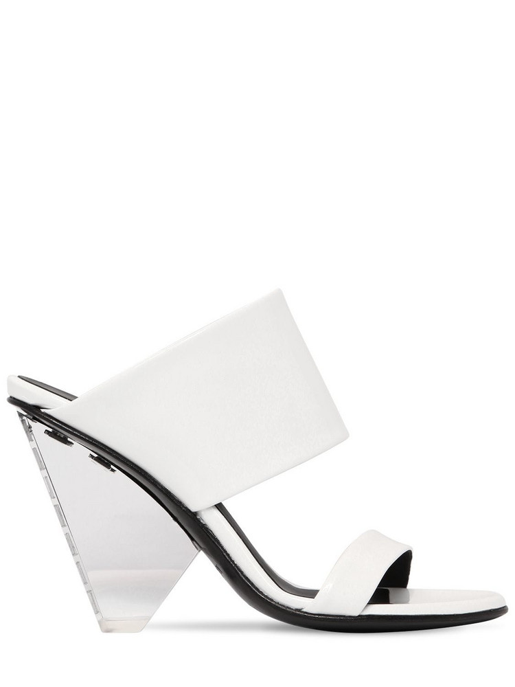BALMAIN 95mm Lory Patent Leather Wedges in white