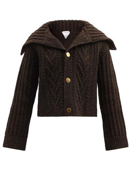 Bottega Veneta - Foldover-collar Wool-blend Cardigan - Womens - Dark Brown