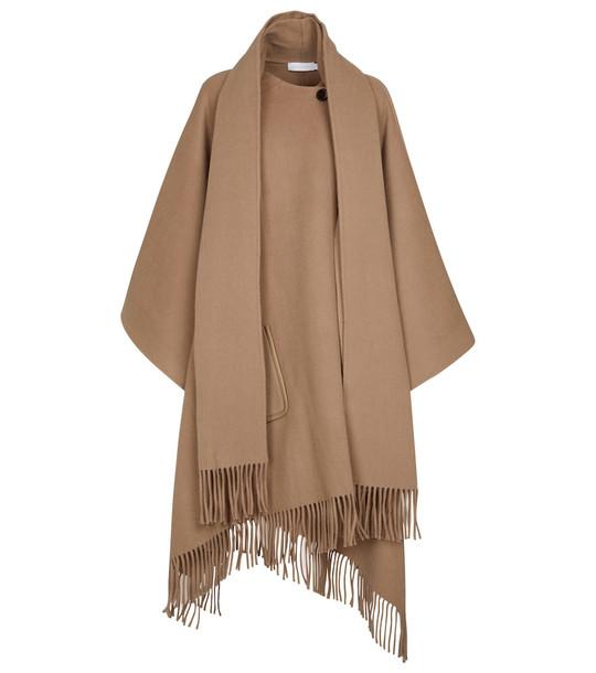 Jonathan Simkhai Fringe-trimmed wool-blend poncho in beige