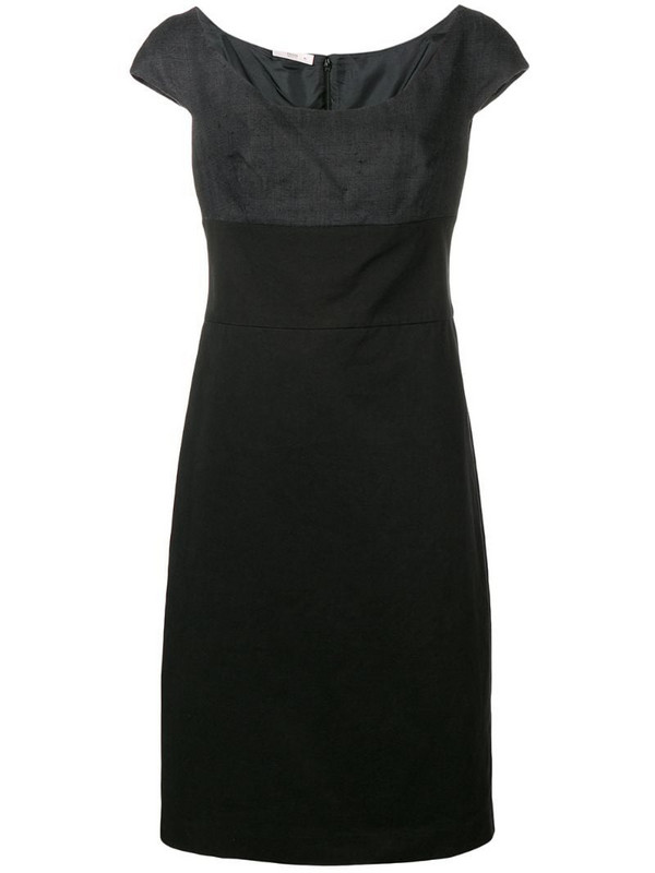 Prada Pre-Owned two tone fitted dress in black