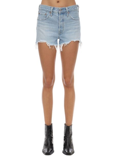 LEVI'S RED TAB 501 High Waist Cotton Denim Shorts in blue