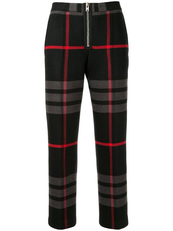Yang Li cropped plaid print trousers in black
