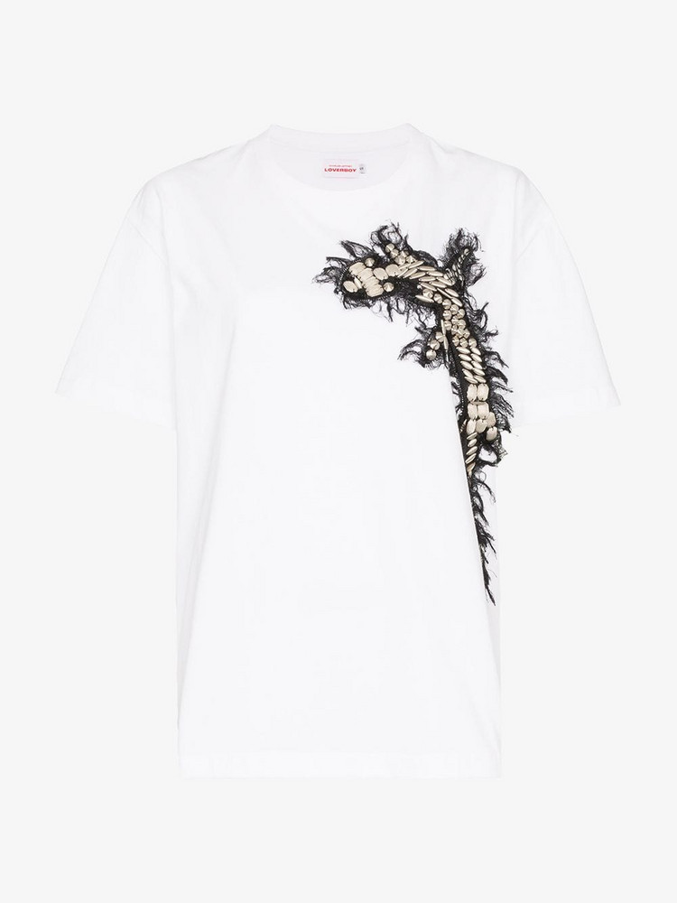 Charles Jeffrey Loverboy Embroidered appliqué cross T-shirt in white
