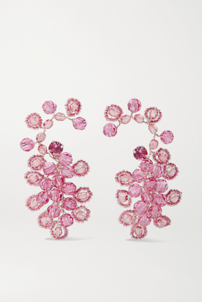 Magda Butrym - Silver-tone And Crystal Earrings - Pink