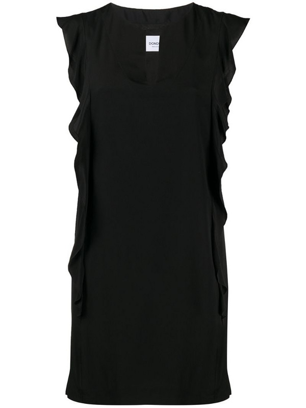 Dondup ruffle shift dress in black
