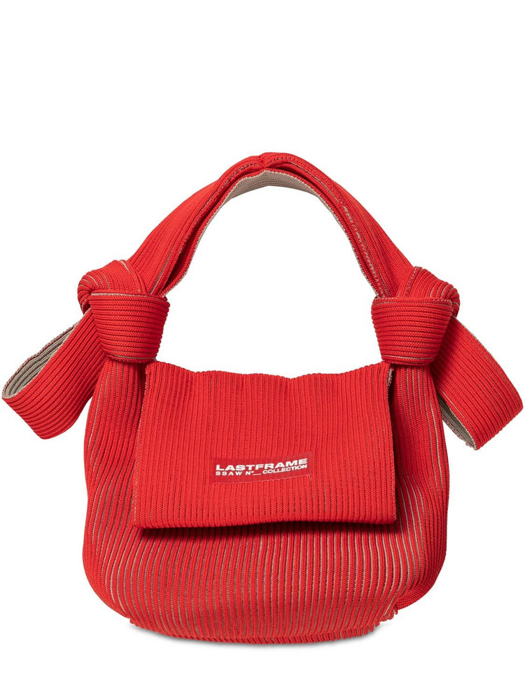 LASTFRAME Two Tone Rib-knit Obi Top Handle Bag in red / beige