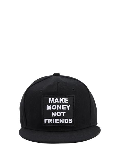 MAKE MONEY NOT FRIENDS Logo Embroidered Baseball Hat in black