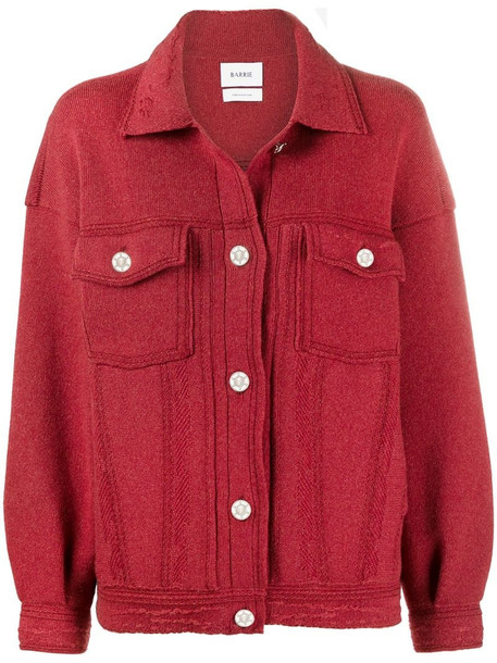 Barrie oversized cashmere and cotton-blend jacket in red