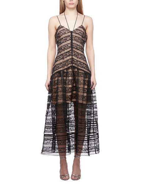 Self-portrait Lace Embroidered Flared Dress in nero