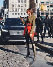 shoes,knee high boots,snake print,heel boots,celine,tights,blazer dress,army green,red skirt,high waisted,belt