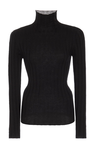 Toteme Palmi Ribbed Wool-Blend Turtleneck Sweater Size: XS in black