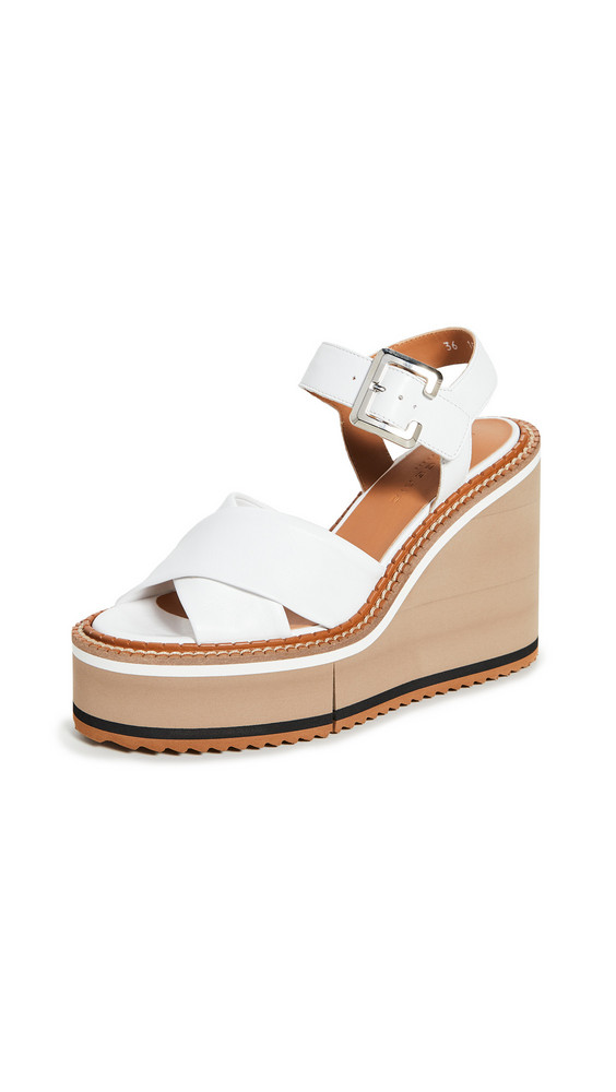 Clergerie Noemie Wedge Sandals in white
