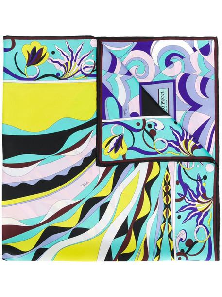 Emilio Pucci Burle Print Silk-Twill Square Scarf in blue