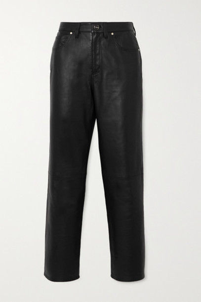 GOLDSIGN - Net Sustain The Relaxed Straight Cropped Leather Pants - Black