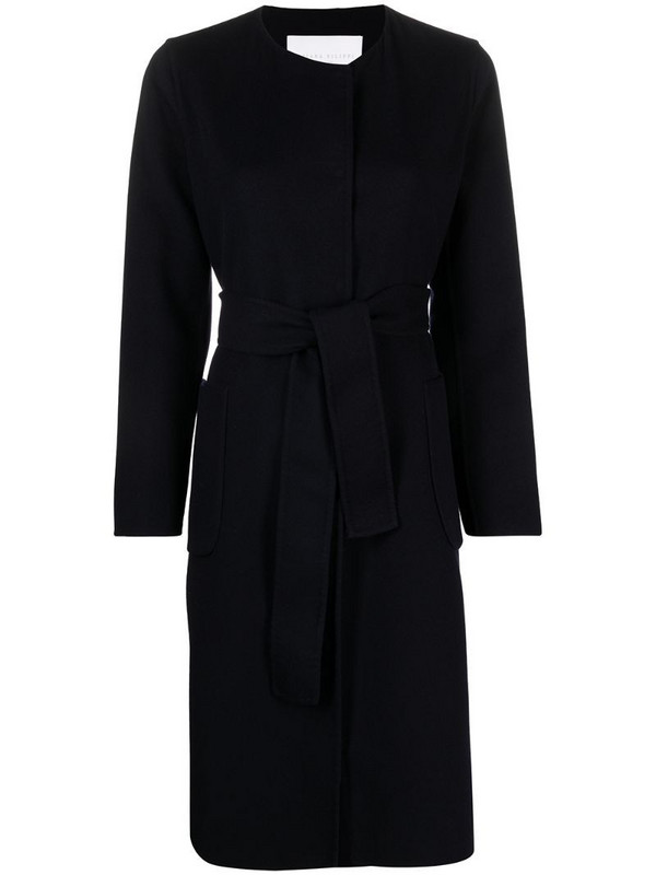 Fabiana Filippi belted single-breasted coat in blue
