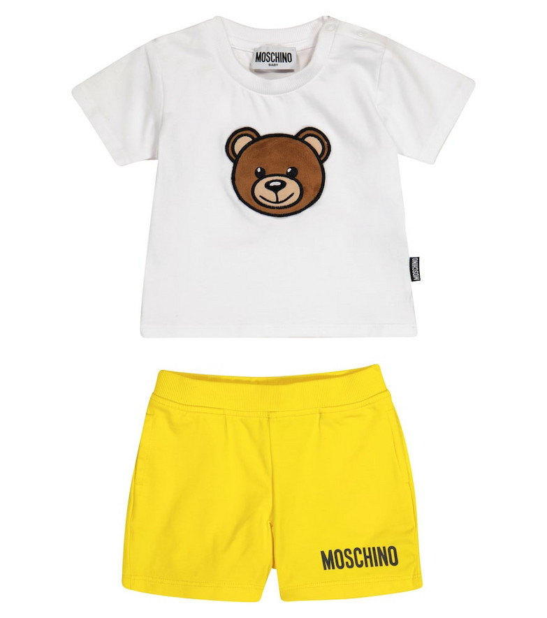 Moschino Kids Baby stretch-cotton T-shirt and shorts set in white