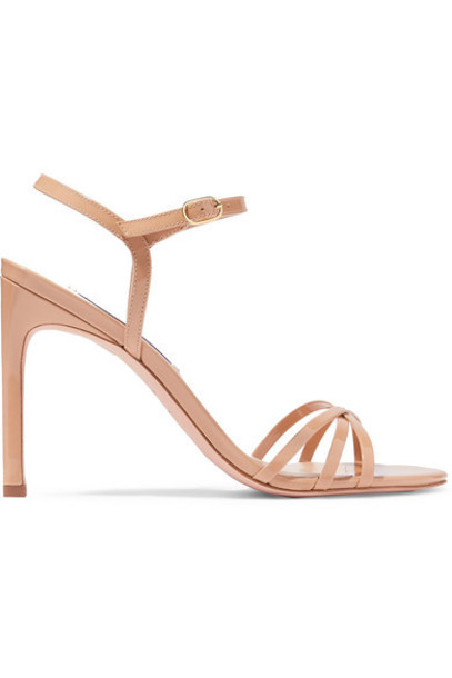 Stuart Weitzman - Starla Patent-leather Sandals - Beige