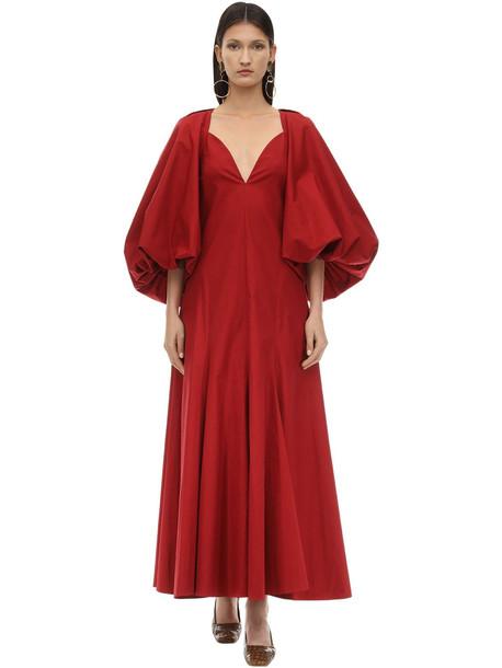 KHAITE Long Joanna Cotton Twill Dress in red