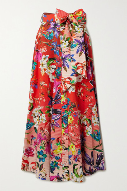 Mary Katrantzou - Forget Me Not Belted Floral-print Stretch-cotton Maxi Skirt - Pink