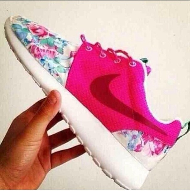 shoes nike flower sneakers nike roshe run