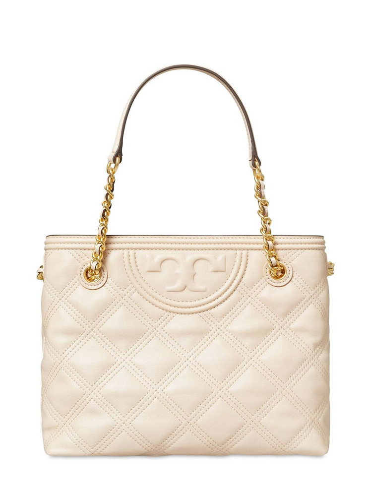 TORY BURCH Fleming Quilted Leather  Tote Bag in cream