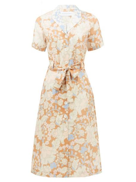 Ephemera - Spliced Floral-print Linen Shirt Dress - Womens - Pink Print