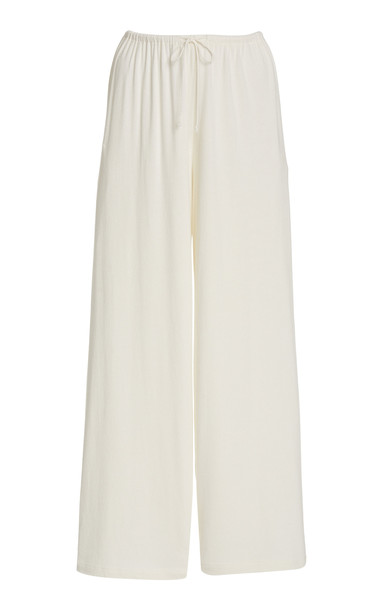 Vince Jersey Wide-Leg Lounge Pants in white