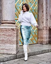 skirt,sequin dress,midi skirt,white boots,knee high boots,heel boots,white sweater,cable knit