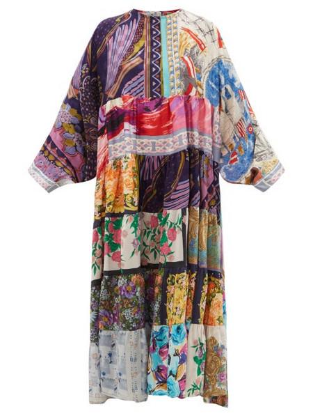 Rianna + Nina Rianna + Nina - Patchwork Vintage-silk Maxi Dress - Womens - Multi