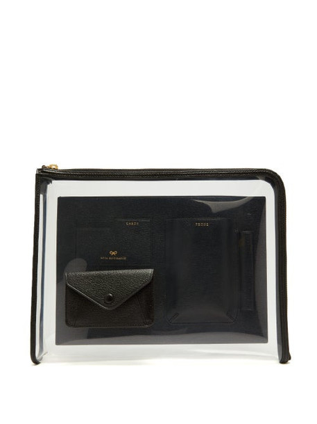 Anya Hindmarch - Envelope Pvc And Grained-leather Pouch - Womens - Black