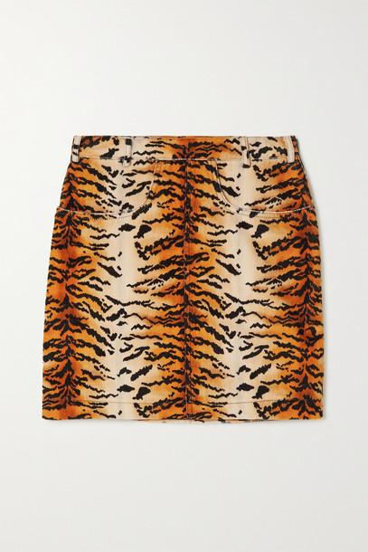 PHILOSOPHY DI LORENZO SERAFINI - Tiger-print Velvet Mini Skirt - Yellow