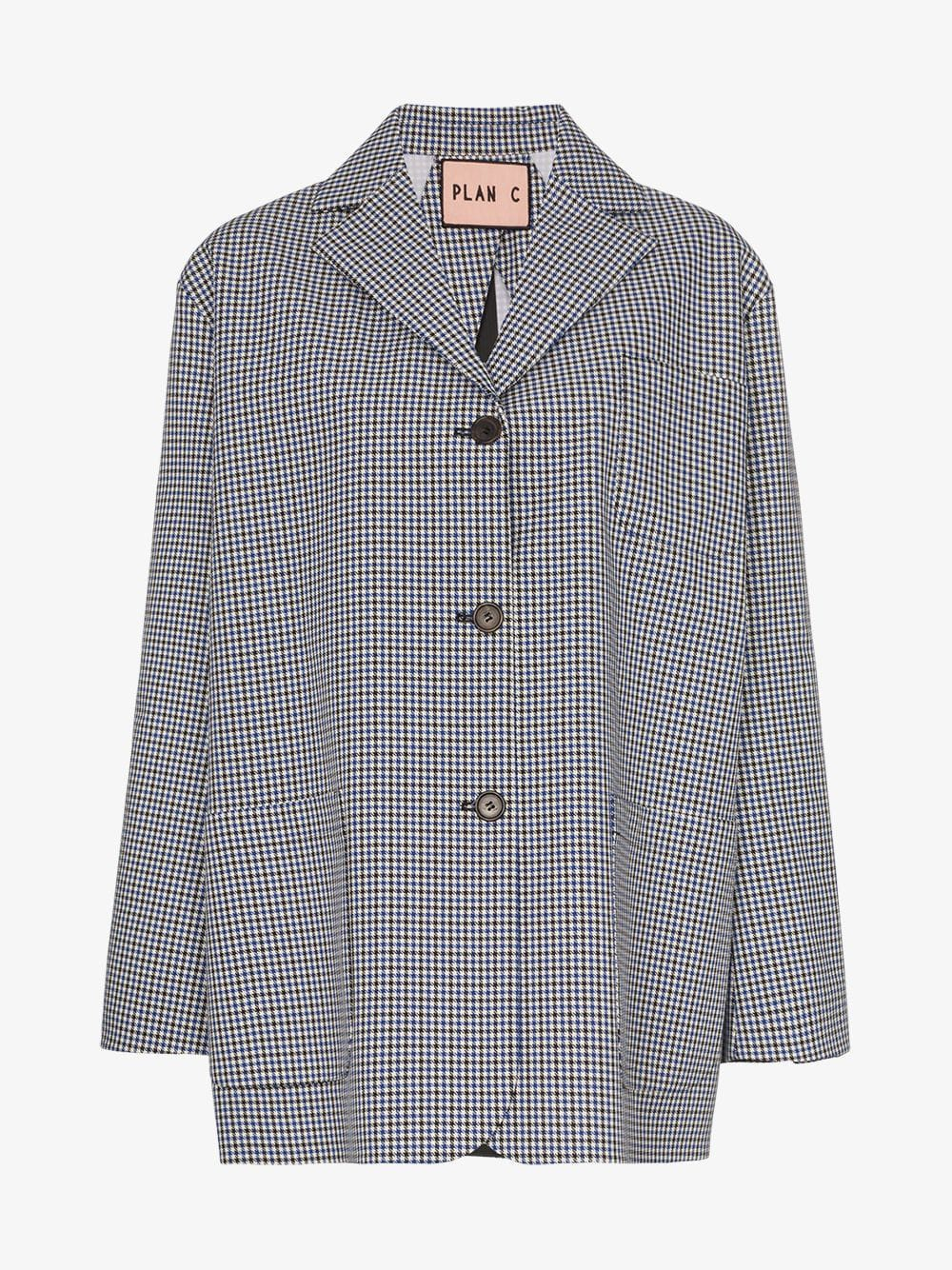 Plan C Checked Blazer in blue